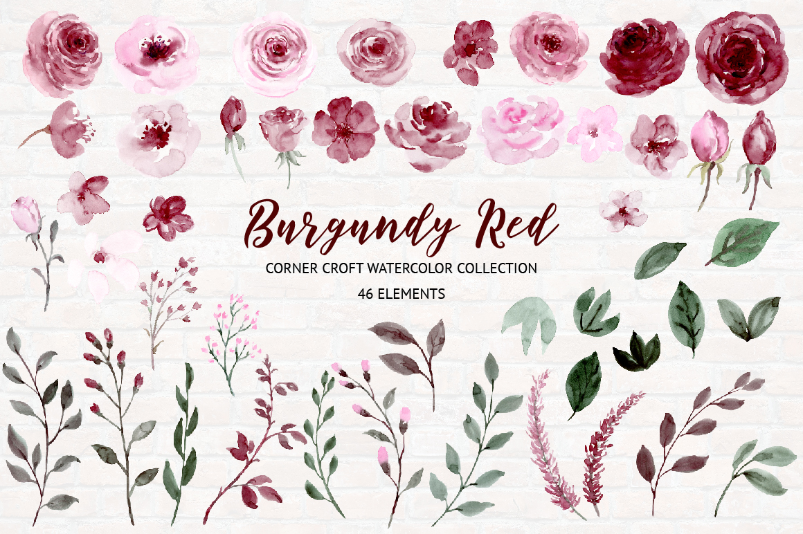Watercolor Collection Burgundy Red example image 2