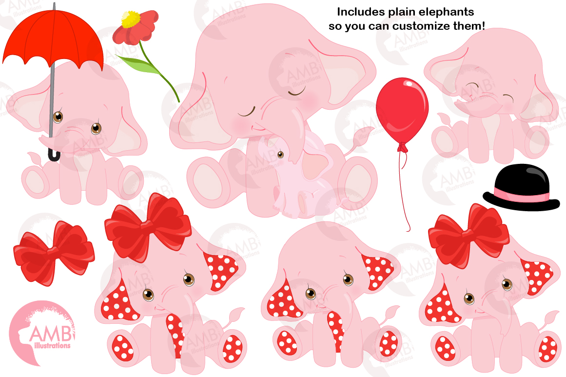 ELEPHANT babies in pink! BUNDLE! 53 cliparts, graphics and illustrations and Patterns AMB-2276 example image 7
