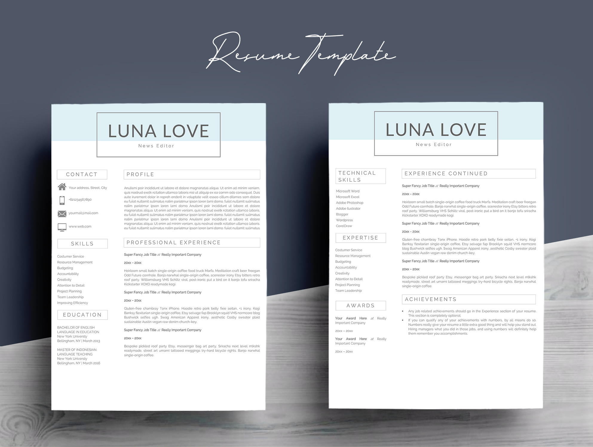 Professional 4 Pages Resume Template example image 4