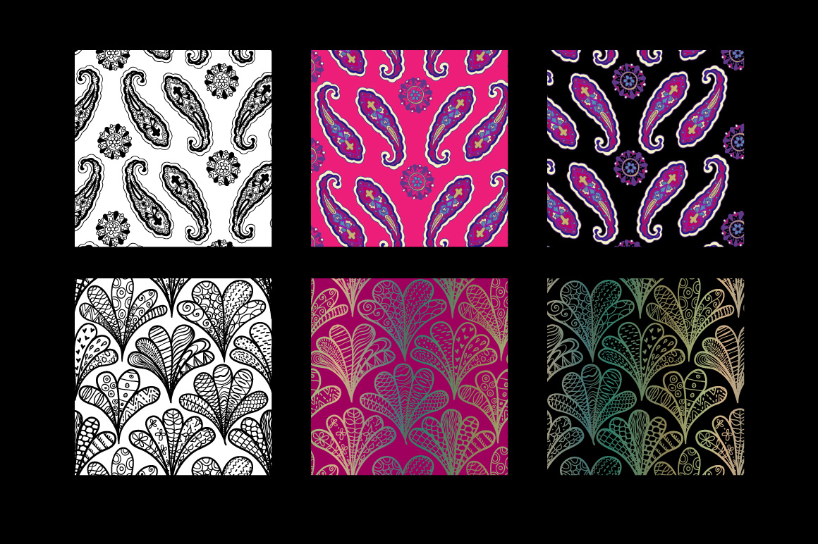 8 seamless paisley patterns example image 5