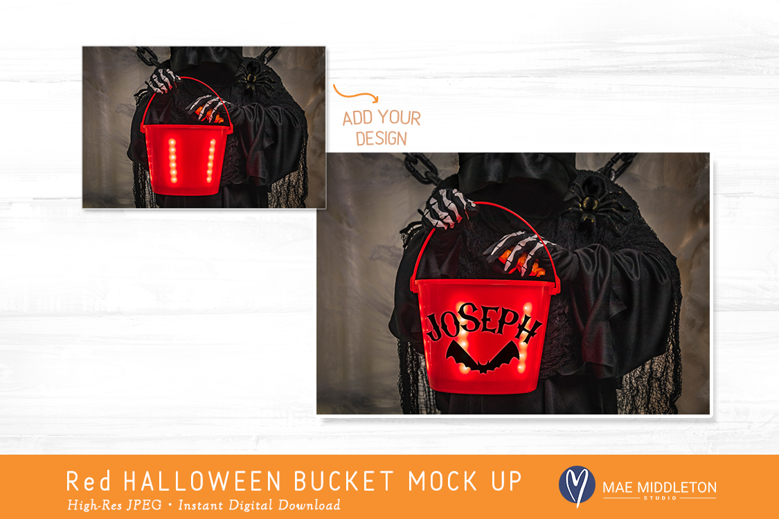 Red Halloween Light up Trick or Treat Bucket - mock up example image 2
