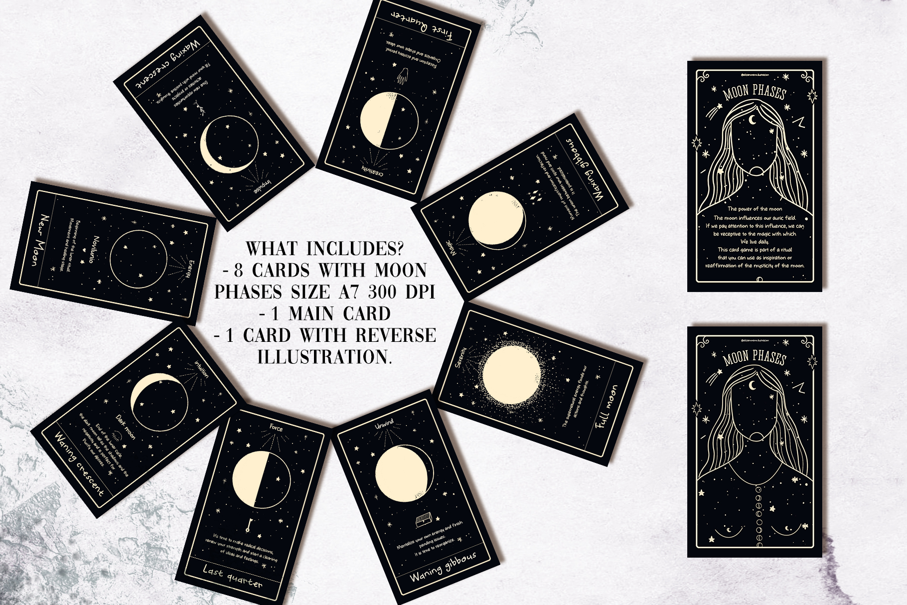 Moon phases mystical ritual cards example image 3