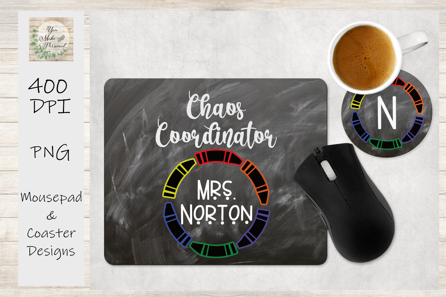 Mouse Pad and Coaster Set - Teacher Gift, For Sublimation example image 1