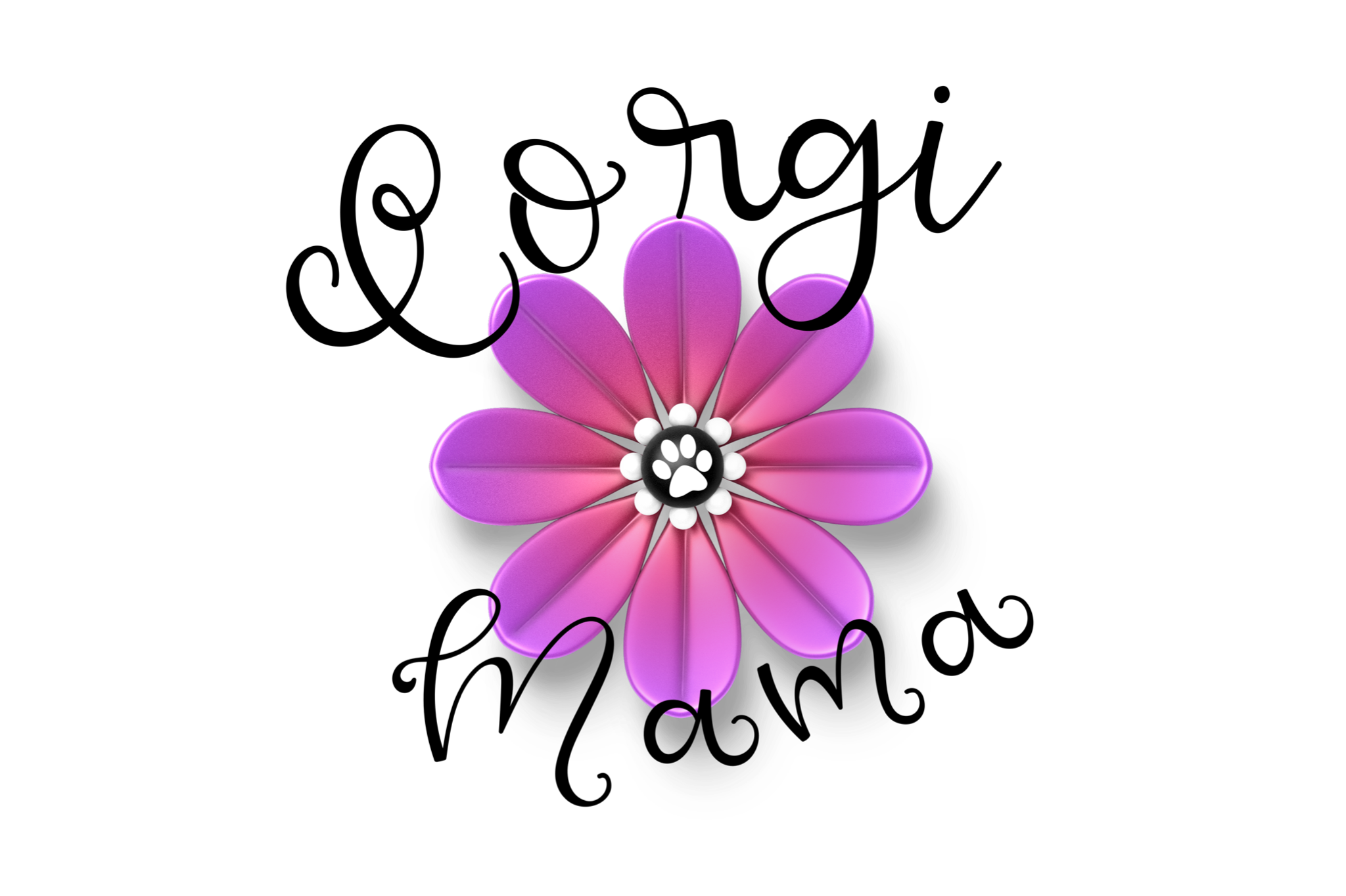 Corgi Mom With Pink Flower Dog Paw PNG Transparent example image 1