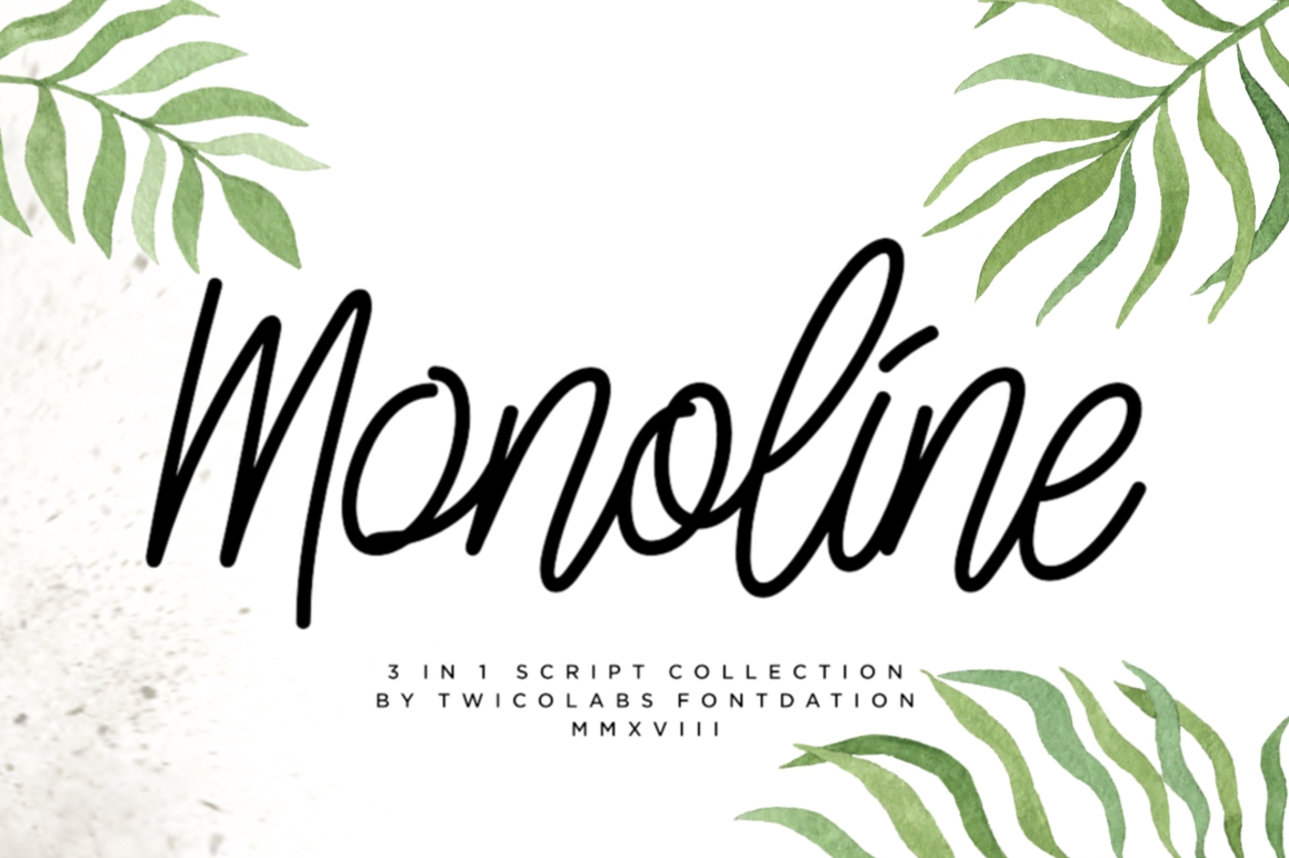 3 in 1 Monoline Script Font example image 1
