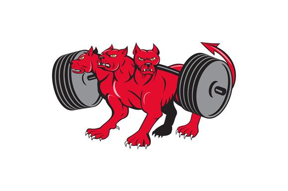 Cerberus Multi-headed Dog Hellhound Powerlifting Barbell Cartoon example image 1