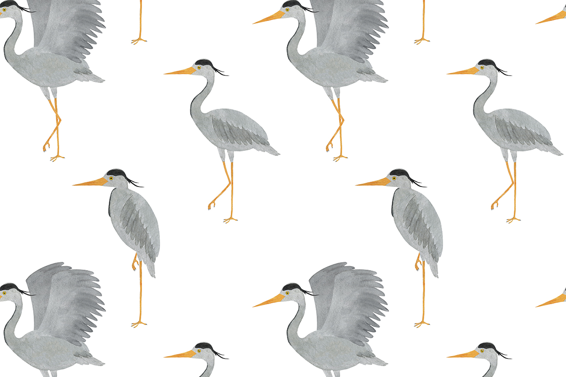 Set of heron watercolor illustrations example image 6