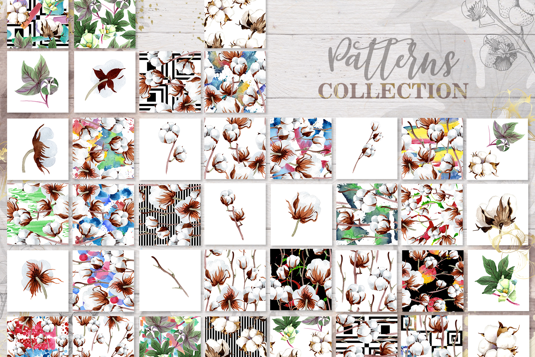 Cotton collection EPS, PNG, JPG, SVG set example image 3