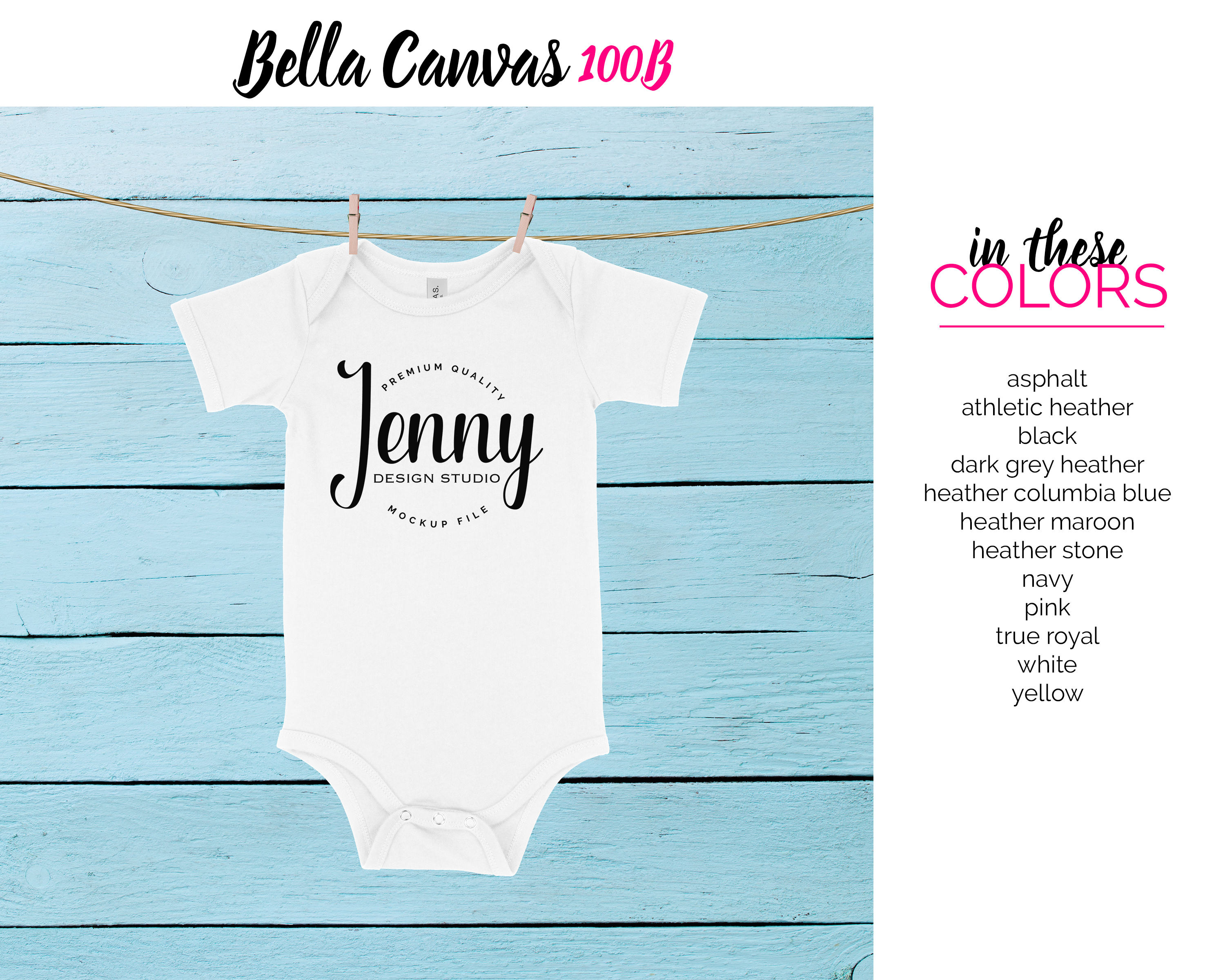 Bella Canvas 100B Unisex Bodysuit Mockup Bundle example image 2