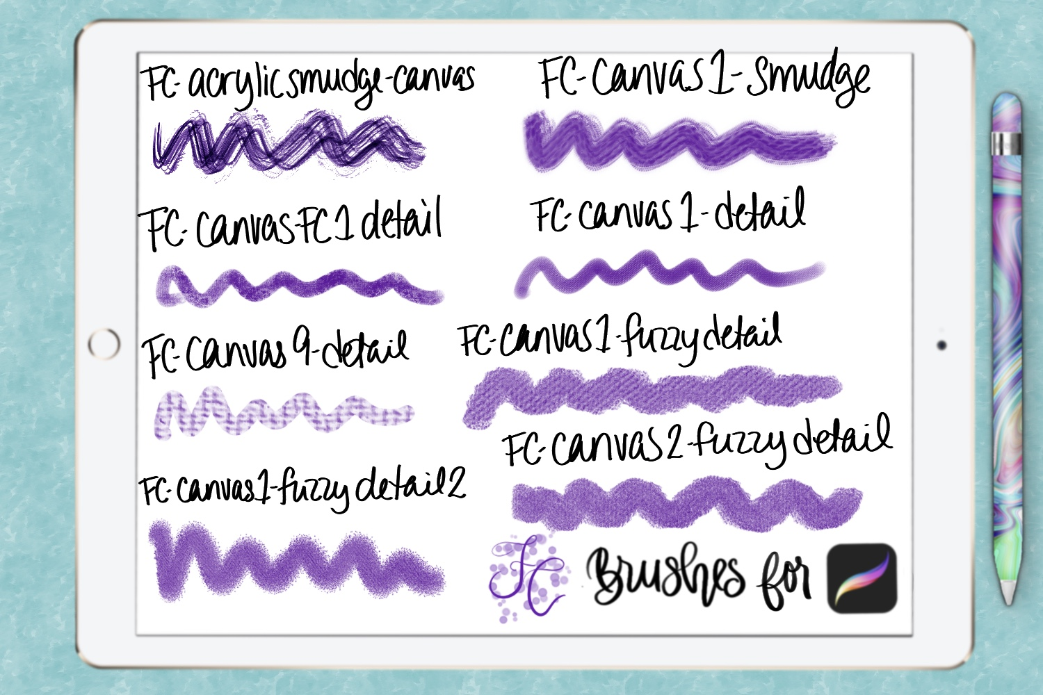 FC-canvas set 1 brushes for PROCREATE example image 4