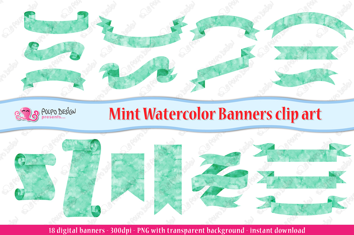 Mint Watercolor Banner clip art example image 3