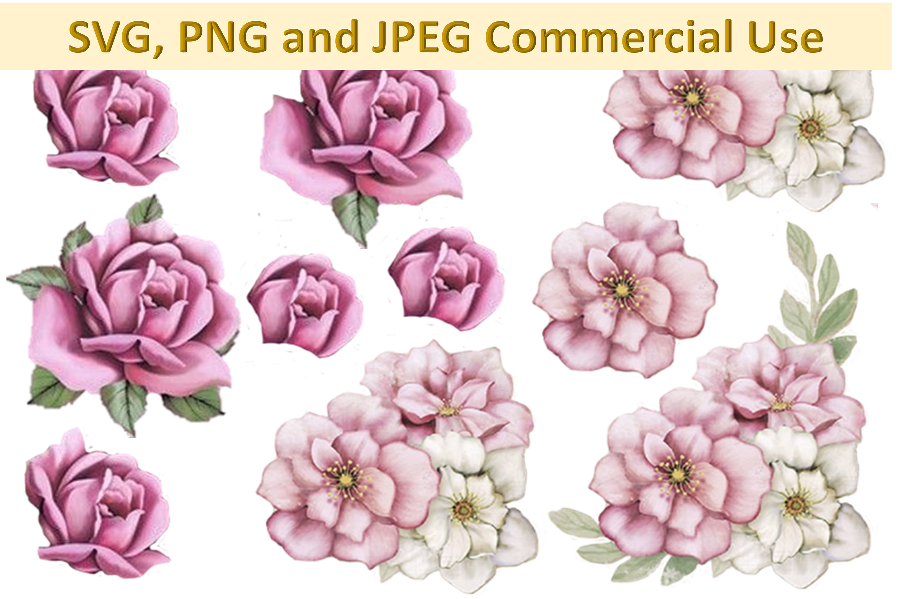 SVG, PNG and JPEG Decoupage, Collage sheets Woodland roses. example image 1