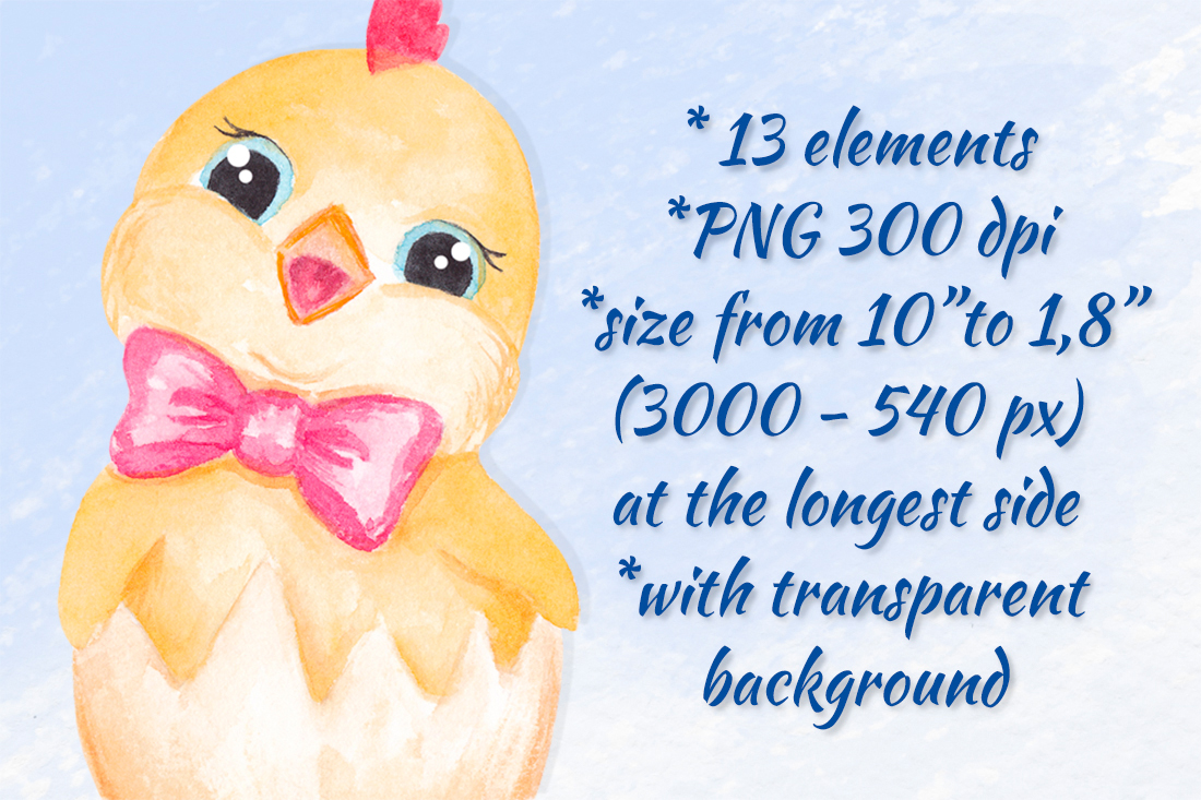 Easter clipart Watercolor Easter bunny and Chick graphics example image 3