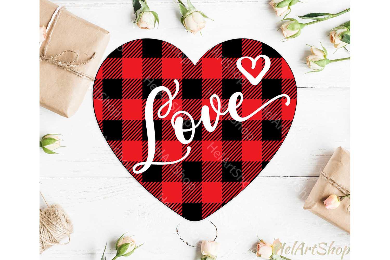 Plaid Heart svg, Valentine svg, Valentines day svg, Love example image 1
