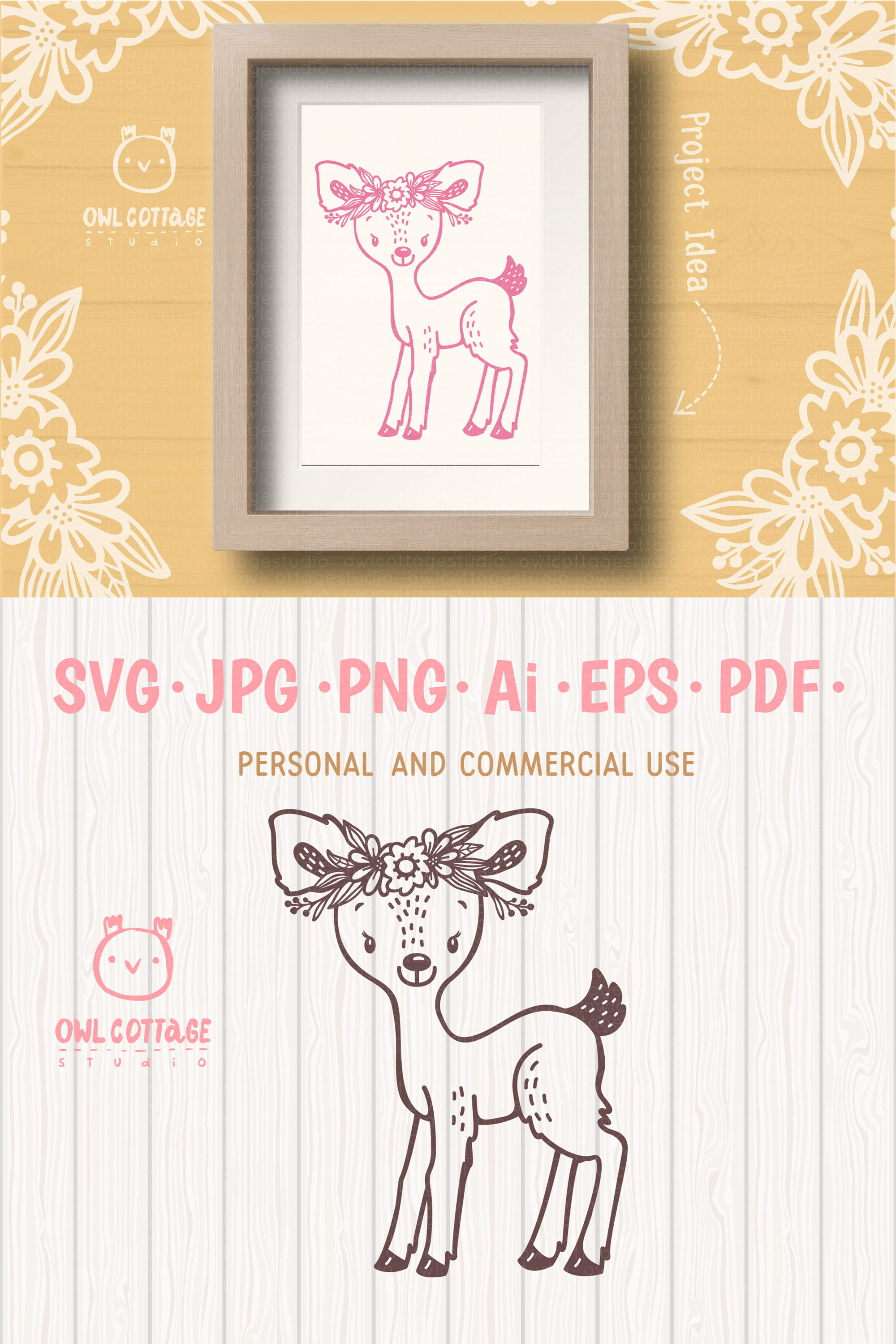 Baby Deer with Flowers Crown Svg , Favn Cut File example image 9