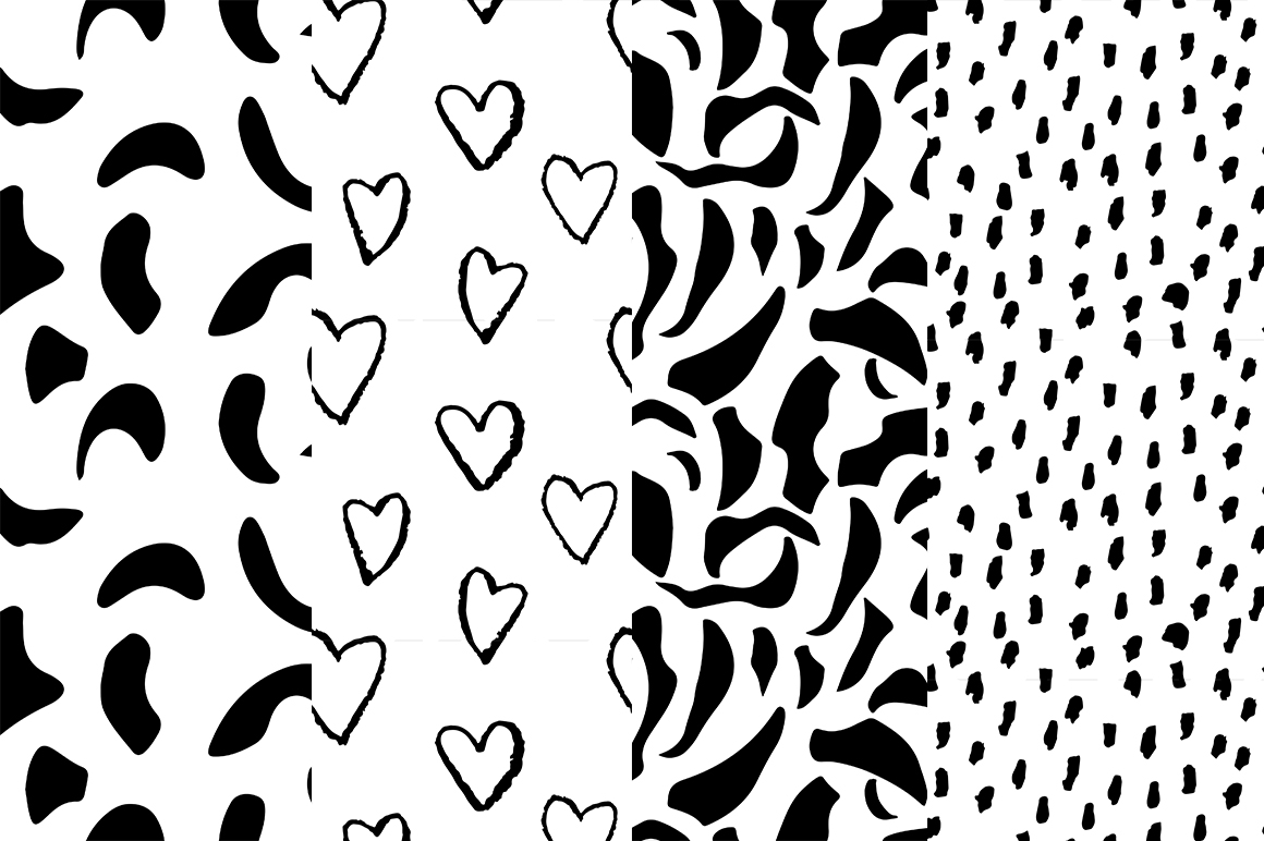 37 monochrome patterns. Hand drawn seamless backgrounds. example image 10