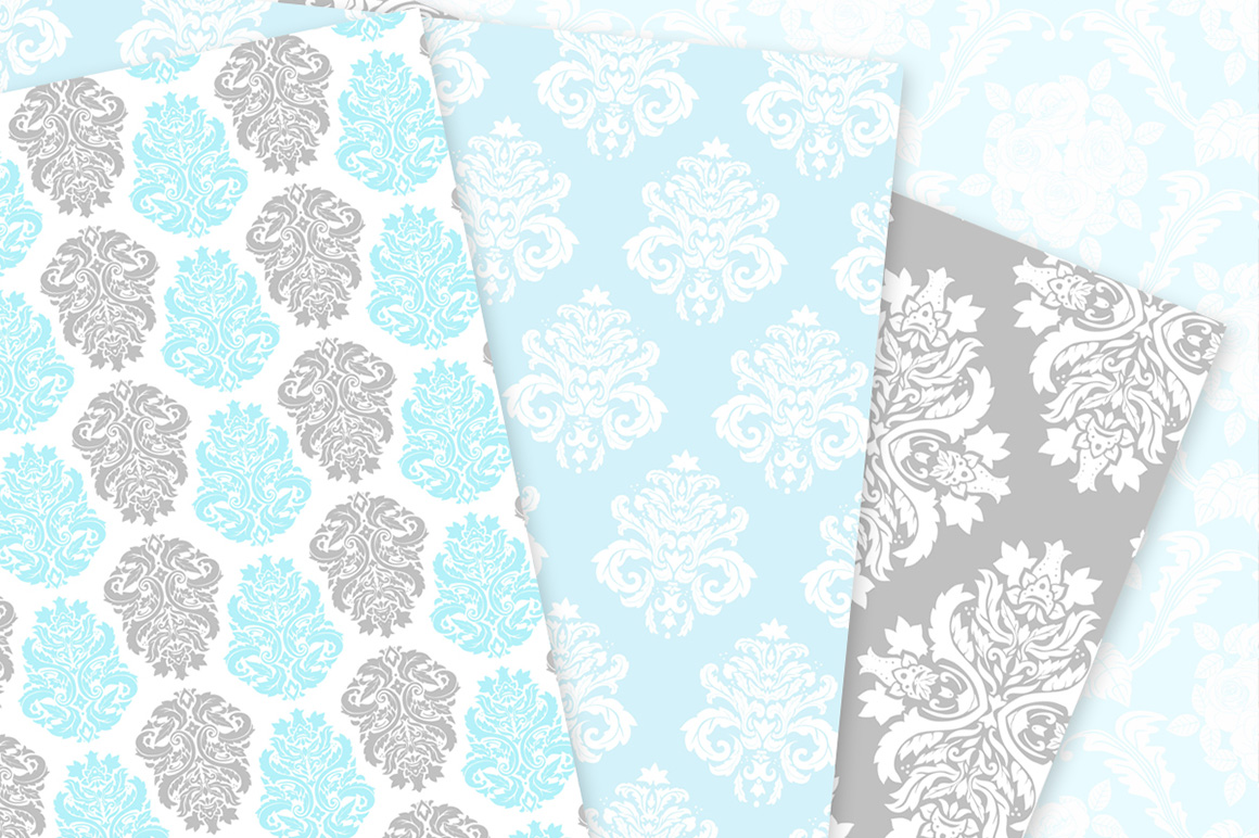 Blue and Grey Damask Patterns - Seamless Digital Papers example image 6