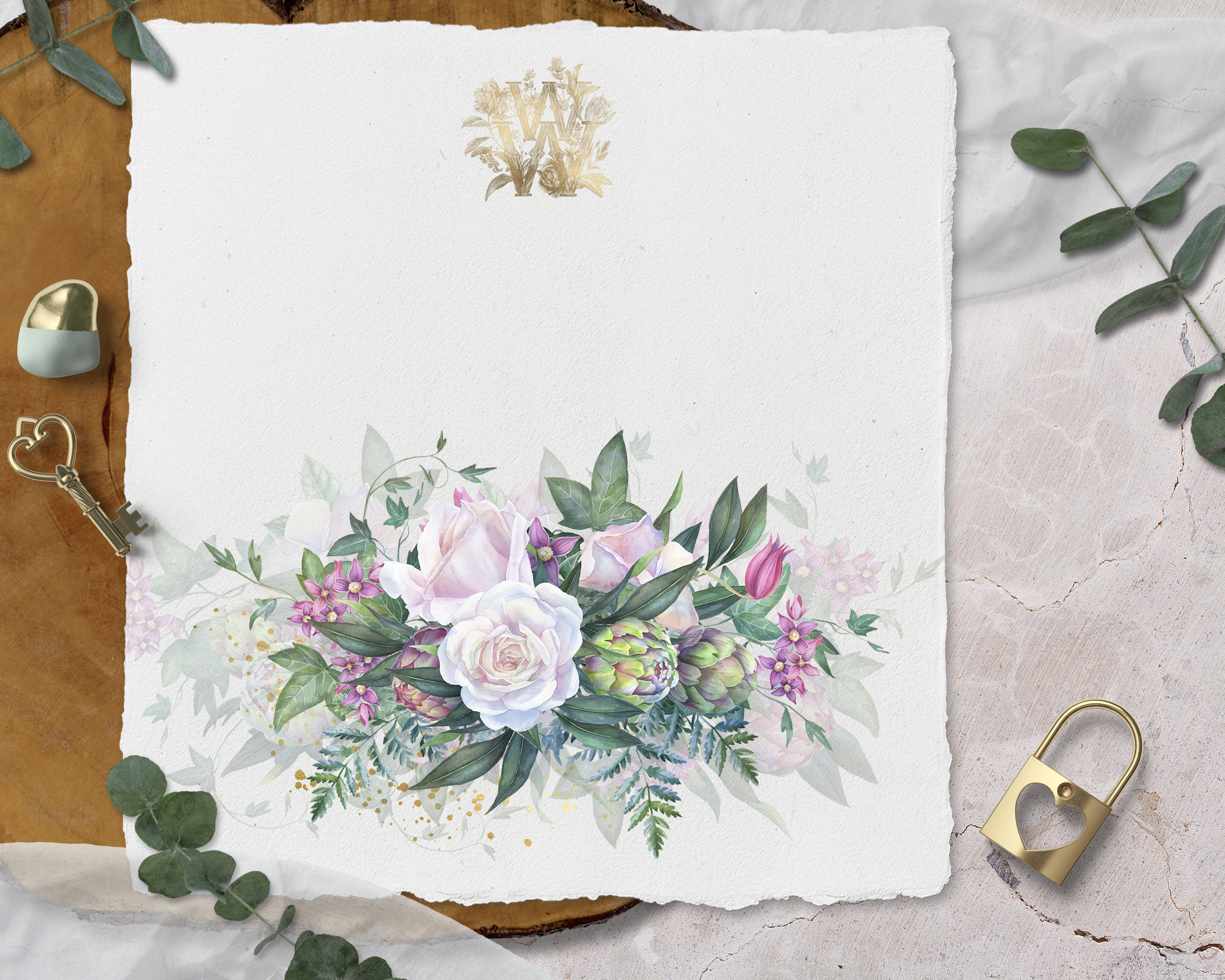 White rose wedding frame clip art example image 5