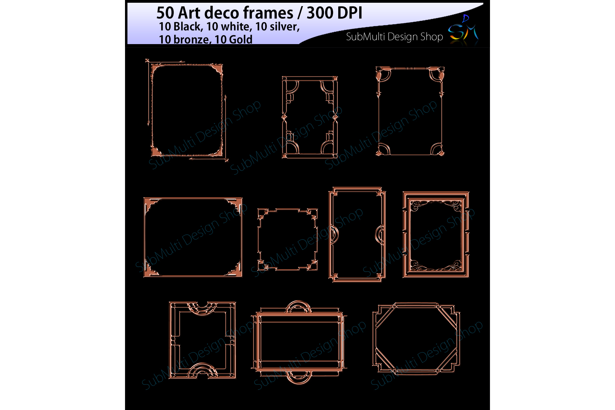 art deco frames / art deco frames clipart / art deco frames silhouette / art deco gold frames / art deco silver frame / digital/High Quality example image 2