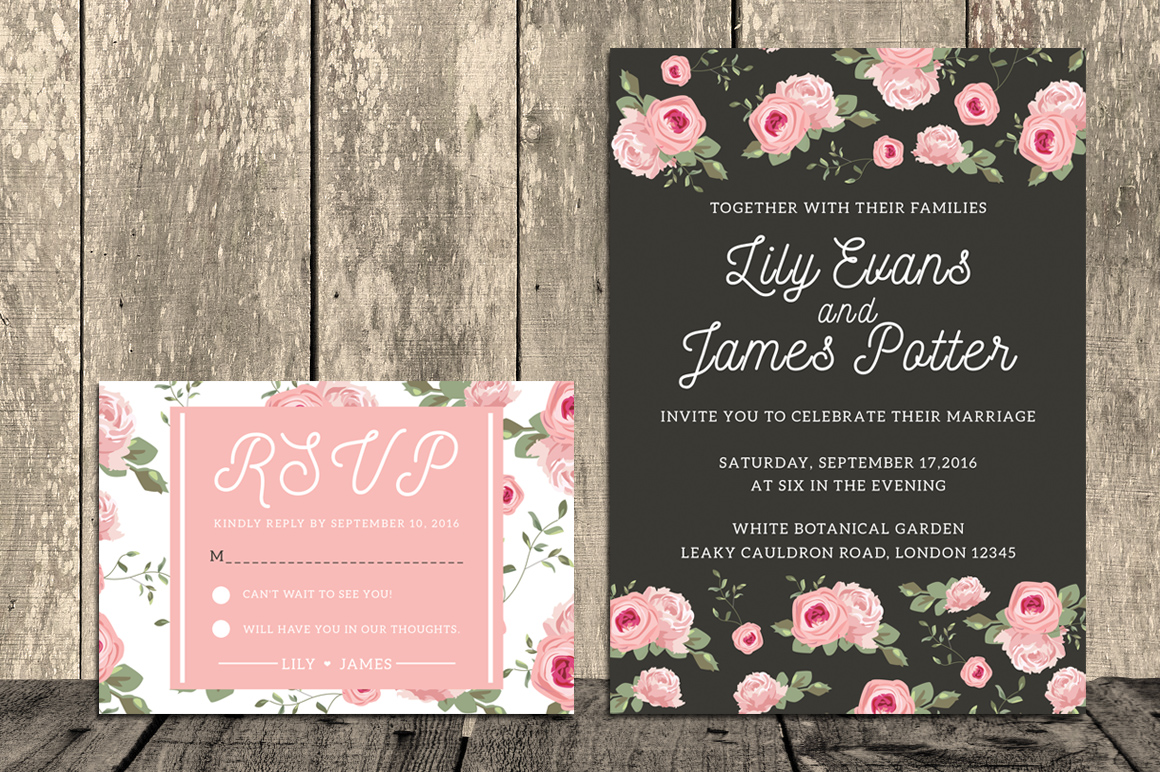 Floral Wedding Invitation Suite example image 3