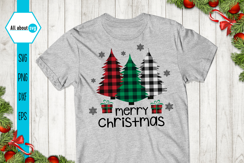 Merry Christmas, Buffalo Plaid Trees Svg example image 2