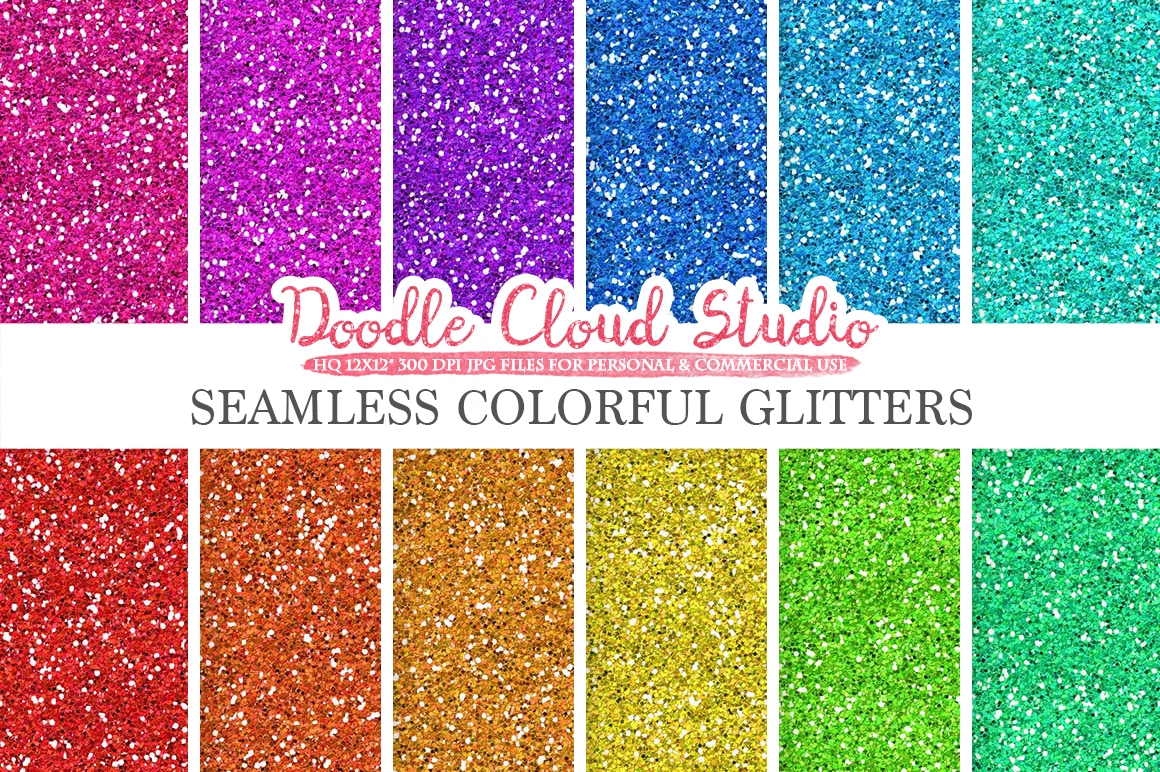 SEAMLESS Colorful Glitter digital paper, Colorful sparkling Background, Bright Rainbow sparkles, Instant Download, Personal & Commercial Use example image 1