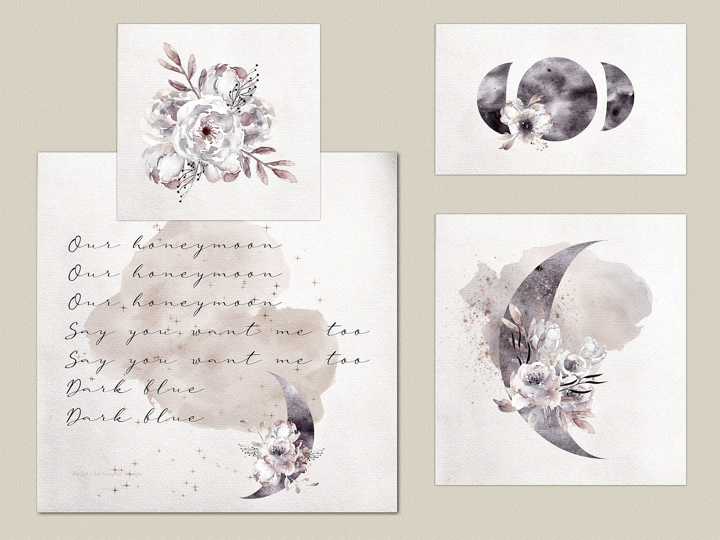 Watercolor Moon Phases Design Bundle example image 2