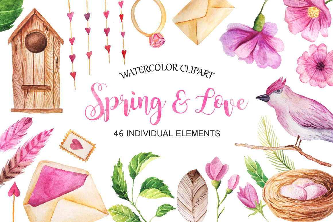 Watercolor Spring&Love Set example image 1