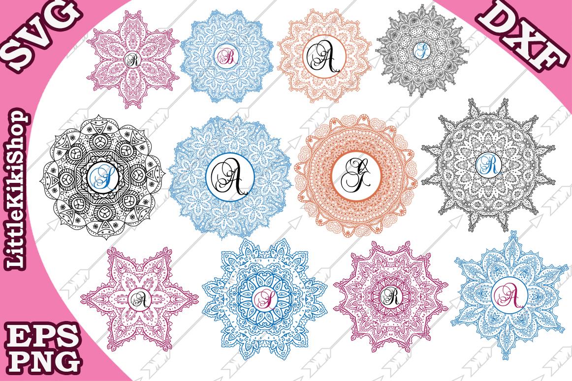 Mandala Monogram Svg, Mandala Svg, Mandala Bundle Svg example image 1