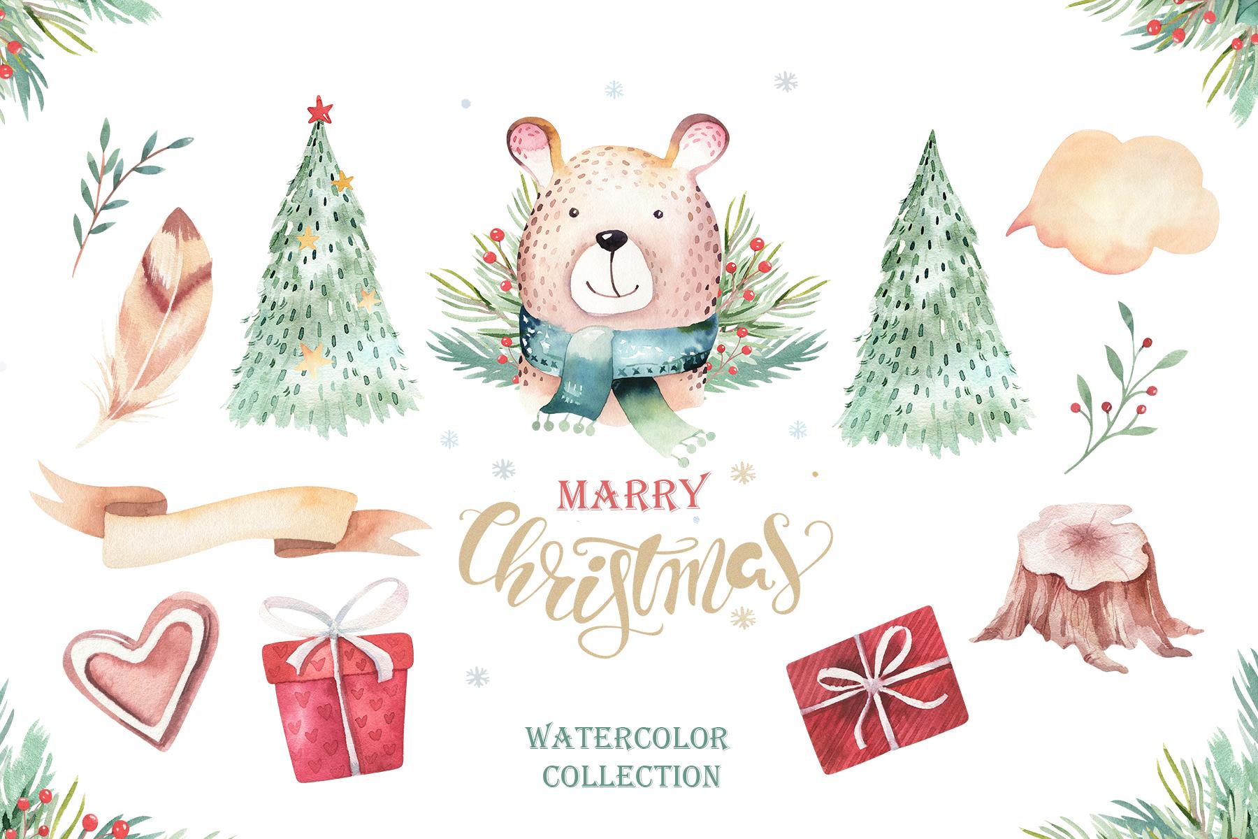 Watercolor Christmas animals raccoon, bear, deer and penguin example image 4