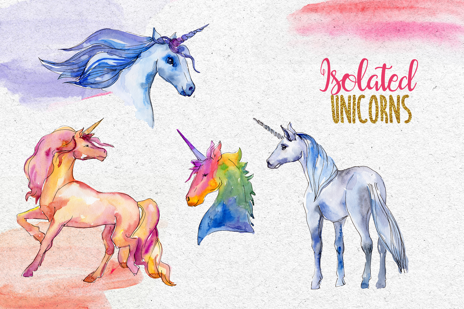 Watercolor Sparkly unicorns PNG set example image 6