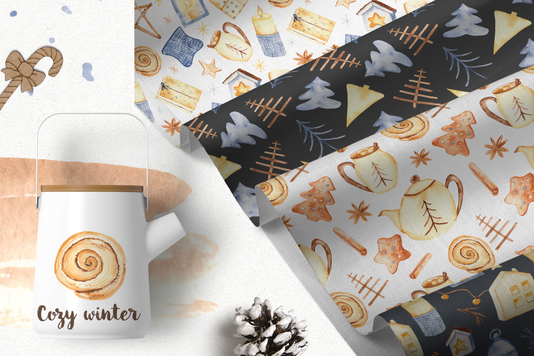 Hygge watercolor clipart Christmas cozy winter collection example image 7