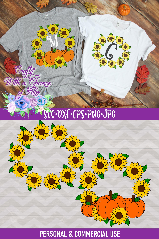 Sunflower Monogram SVG | Autumn SVG | Fall SVG | Monogram example image 4