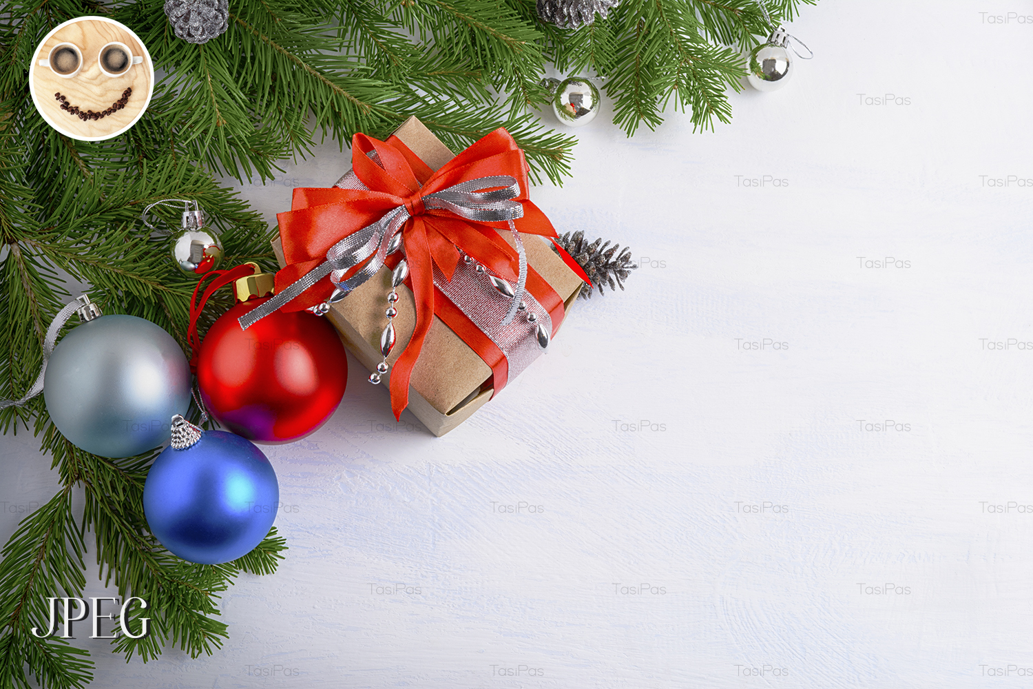 Christmas background with gift box 01 example image 1