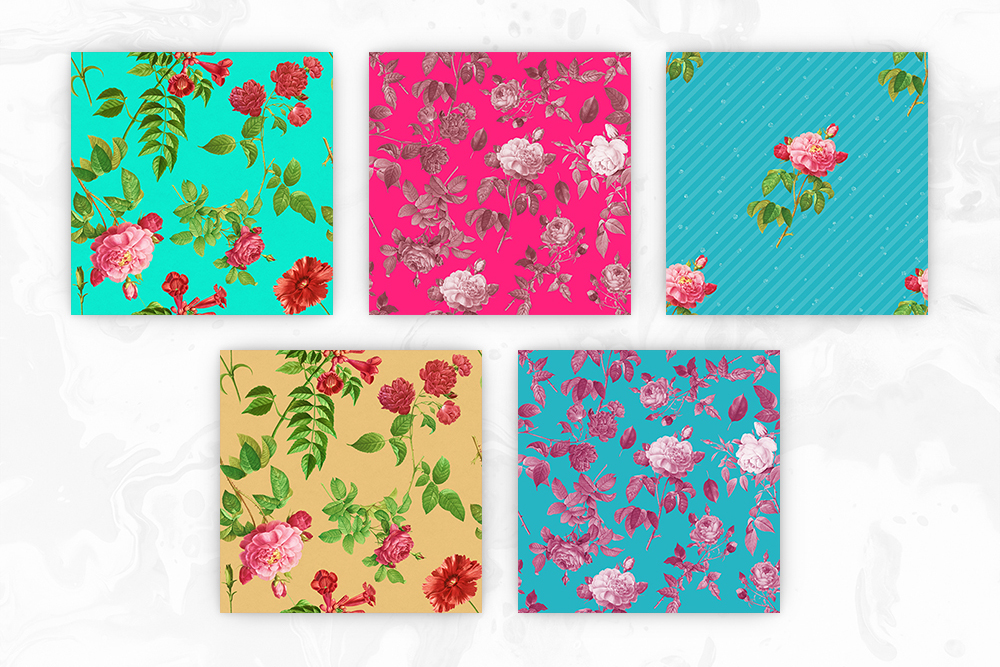 Retro Colors Floral Tileable Backgrounds example image 2