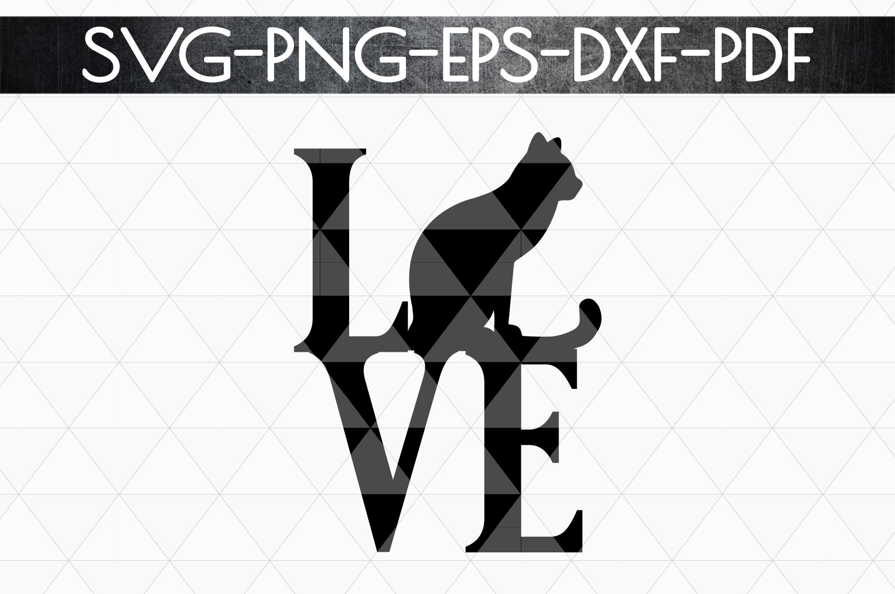 Cat Love Papercut Template, Cat Lover Decor, SVG, DXF PDF example image 4
