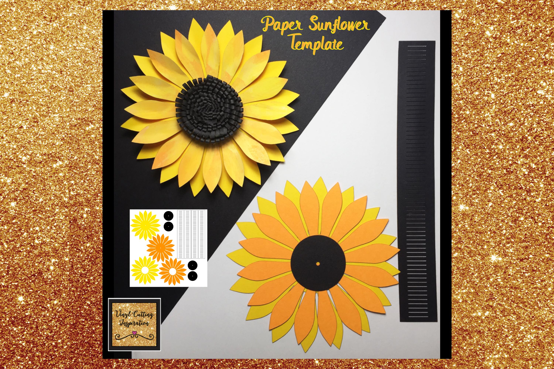 Paper Sunflower Template Svg Cut File Paper Flower print