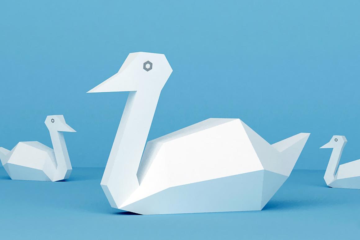 DIY Paper Swan - 3d papercraft example image 2
