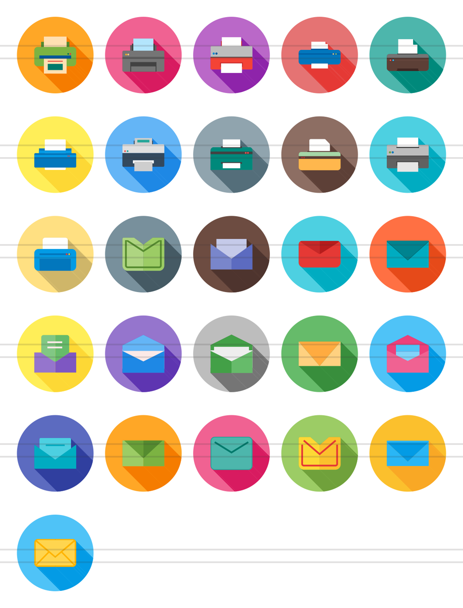26 Email & Printer Flat Long Shadow Icons example image 2