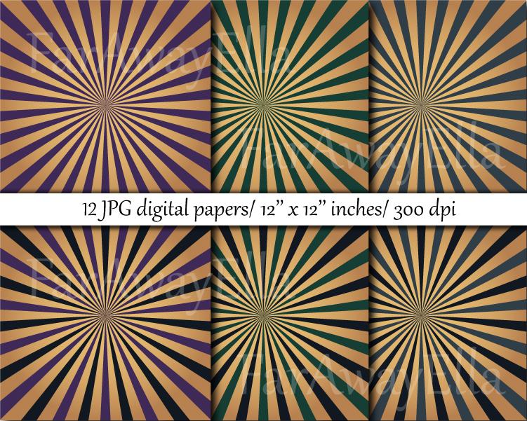 Vintage sunburst digital paper pack   12 JPG digital papers example image 2