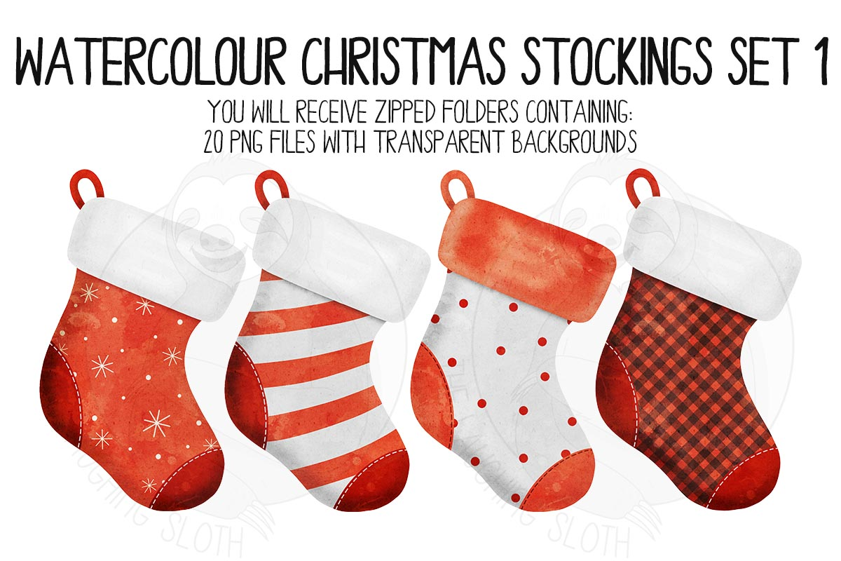Watercolor Christmas Stocking Clipart example image 2