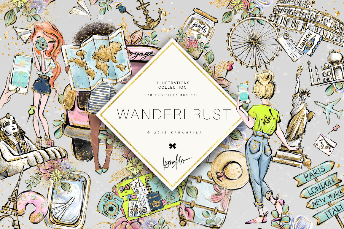 Wanderlust Clipart example image 1