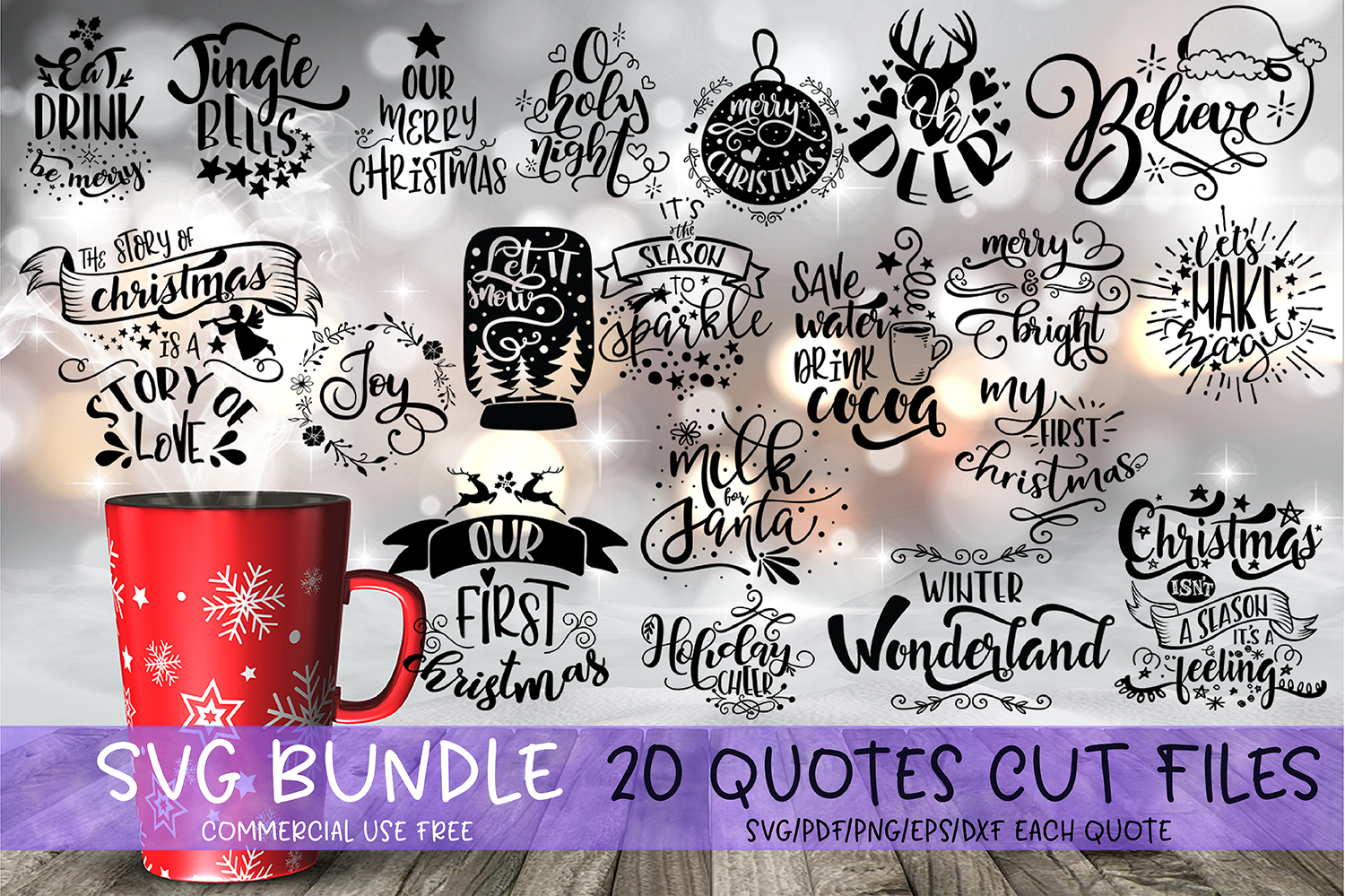Christmas bundle Let it snow Merry Christmas Winter svg example image 1