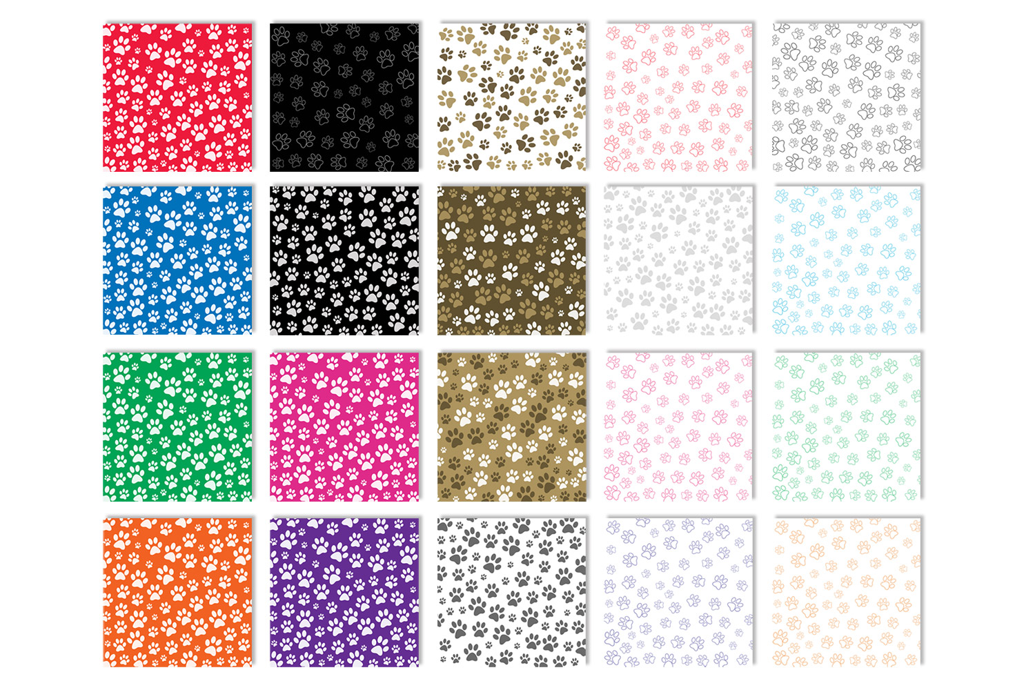 Paw Print Backgrounds - Animal Paw Print Digital Papers example image 2