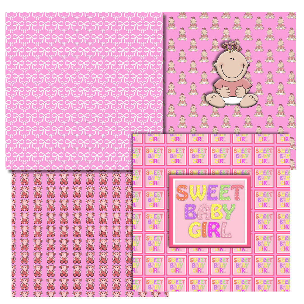 Baby Girl Pattern, Baby Shower, Pink Girl, Pink,BLACK FRIDAY example image 3