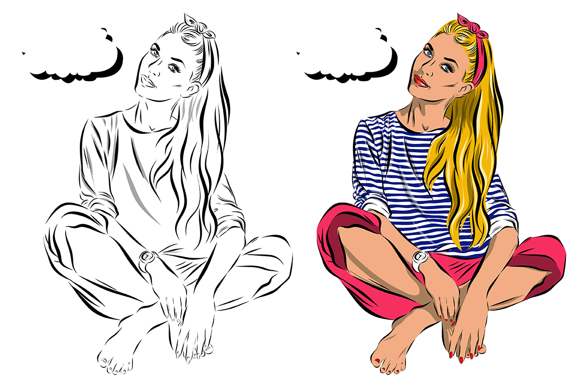 Pop art women set. Comics example image 5