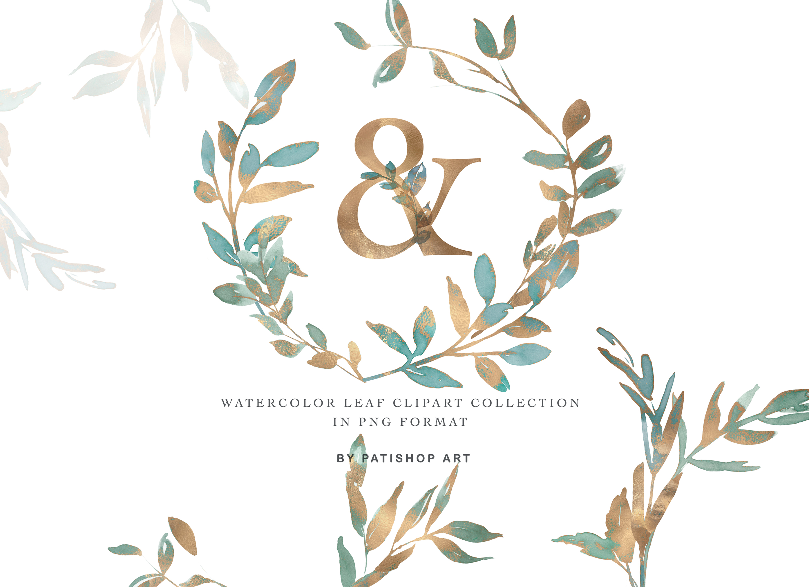 Gold Leaf Watercolor Alphabet & Leaf Clipart Collection example image 3
