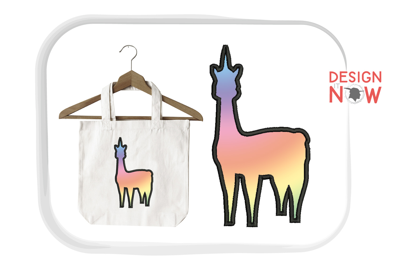 Unicorn LLama Applique Embroidery Design, Unicorn Embroidery example image 2