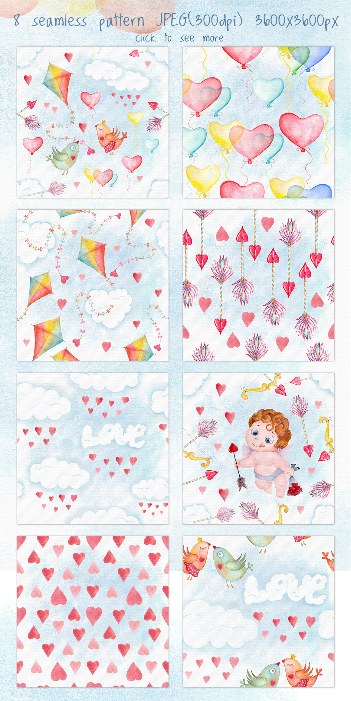 Romantic watercolor set. Love is in the air example image 5