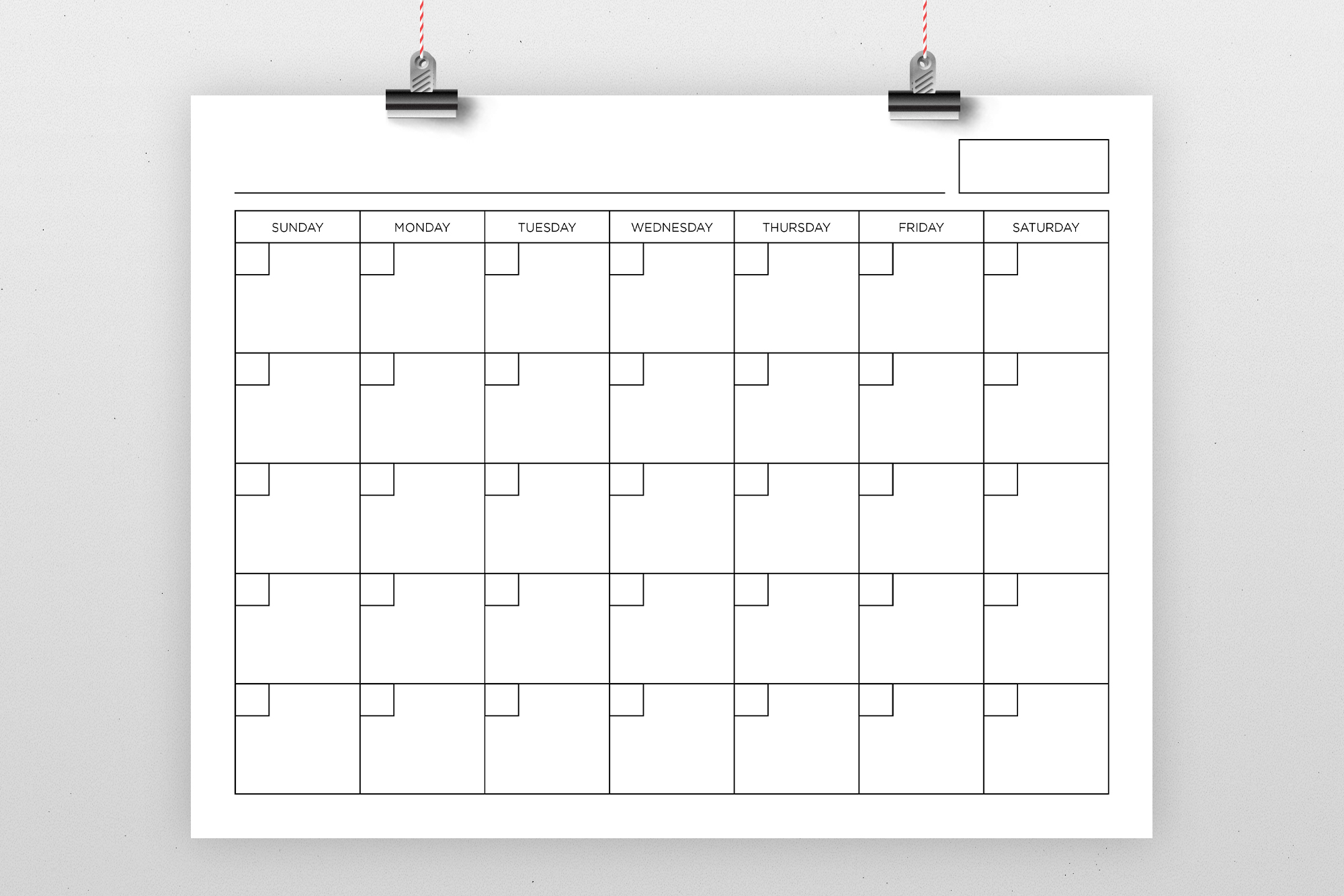 Blank Calendar Page Template Set example image 1